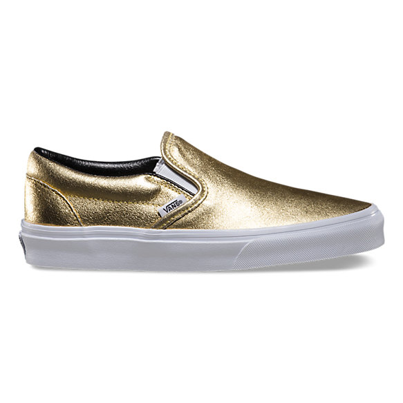 metallic leather slip on shop shoes at vans