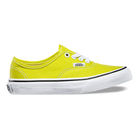 vans pop authentic kids shoes black/neon yellow