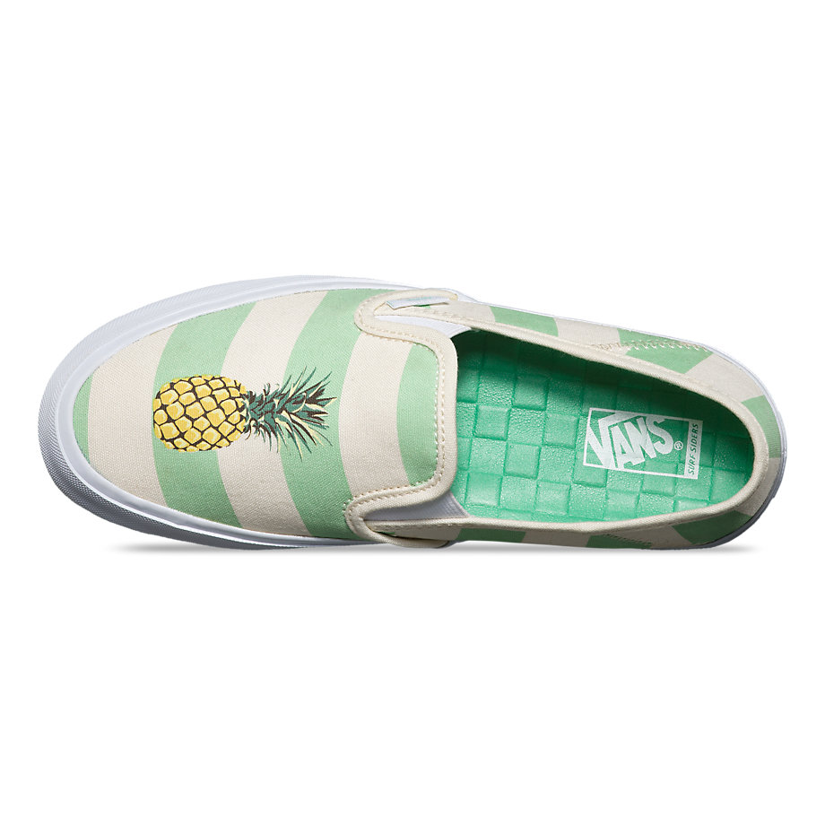 7597a56cf7 Vans Slip-on Sf (stripe Green Ash pineapple) Womens Shoes