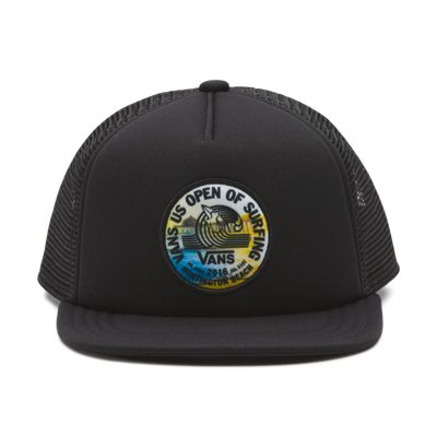 Vans Boys 2016 USO Logo Lock Up Trucker Hat (Black/Black)
