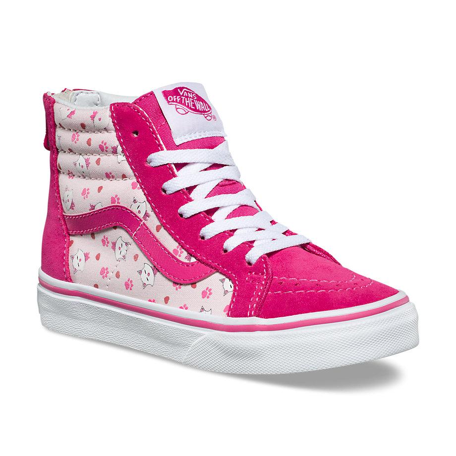 e1a22e6b8b93 Vans Kids Ditsy Kitty Sk8-hi Zip (true White Heavenly Pink Magenta ...