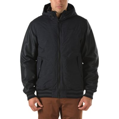 Vans Rutherford Jacket (Black/Black PU) Mens Jackets