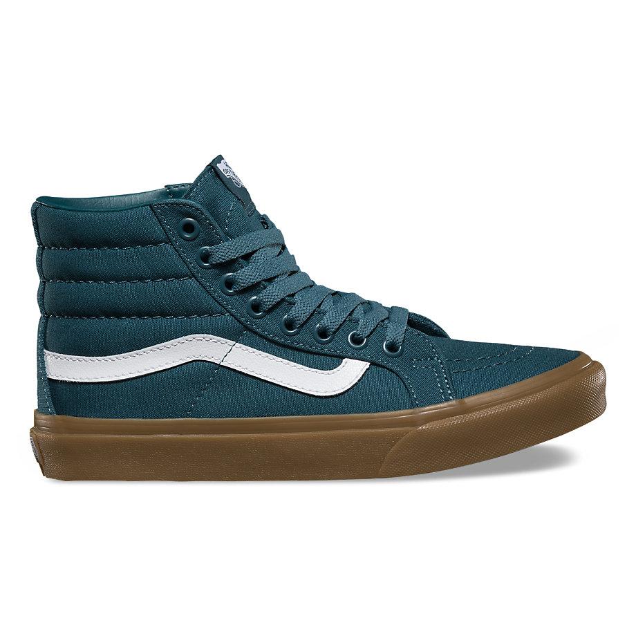 Vans Quilted Denim Sk8-hi Slim (dress Blues/zephyr)