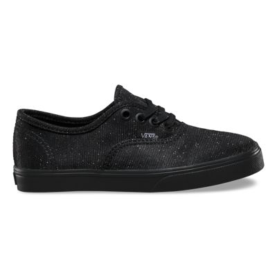 Vans Kids Glitter Textile Authentic Lo Pro (black/black)