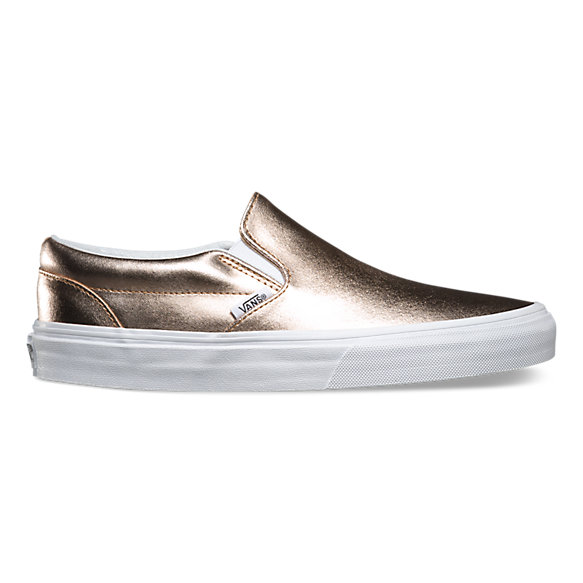metallic leather slip on shop womens shoes at vans