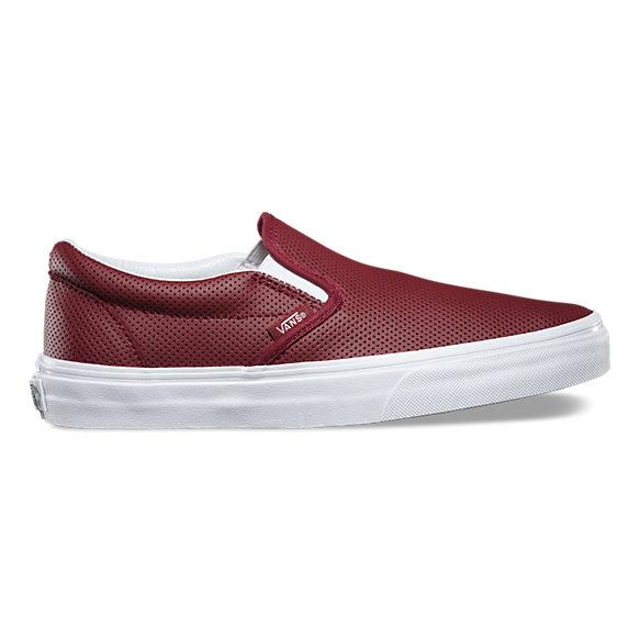 perf leather slip on shop shoes at vans. Black Bedroom Furniture Sets. Home Design Ideas