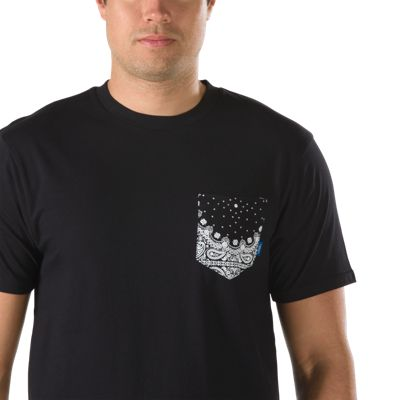 Vans Bandana Print Pocket T-Shirt (Black/Black) Mens