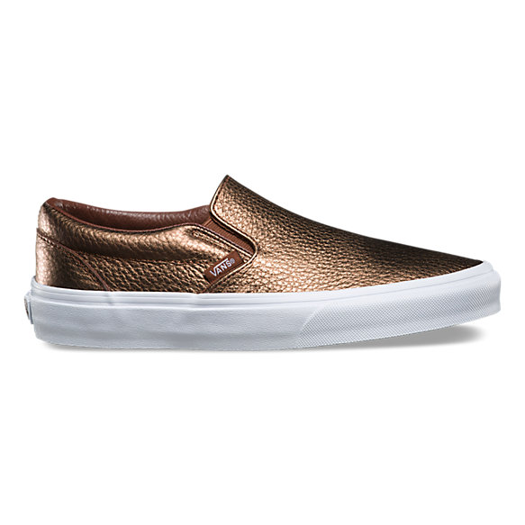 metallic leather slip on shop shoes at vans. Black Bedroom Furniture Sets. Home Design Ideas