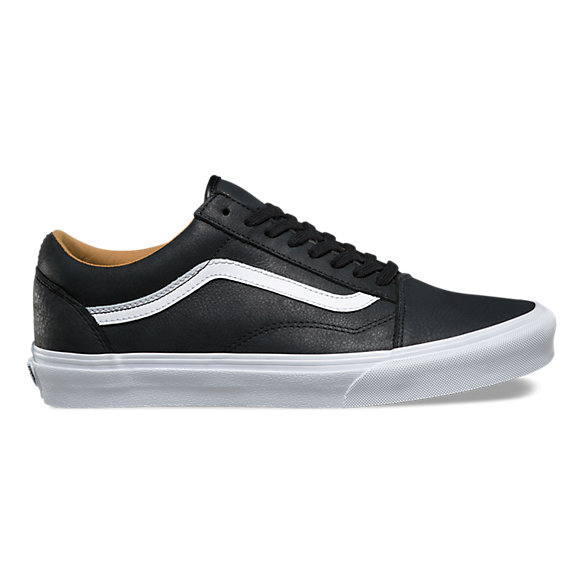 black leather vans old skool white