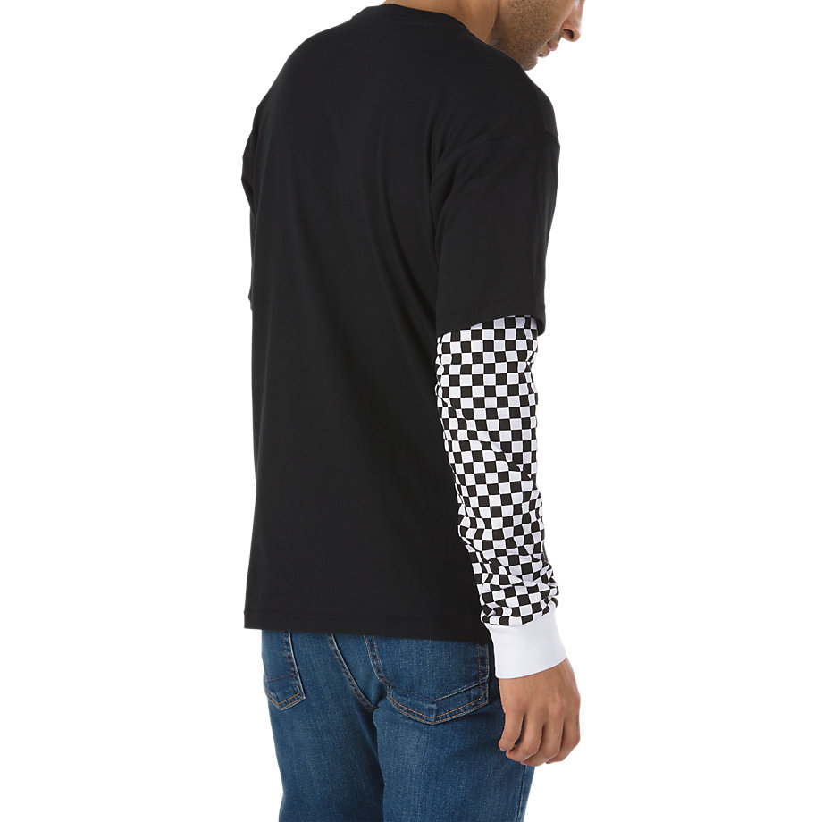 284bfc5b561ce6 Vans Checker Sleeve Two Fer Long Sleeve T-shirt (black Checker ...