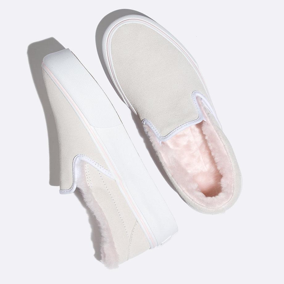 Vans Suede Slip-on Platform (fur True White/pink)