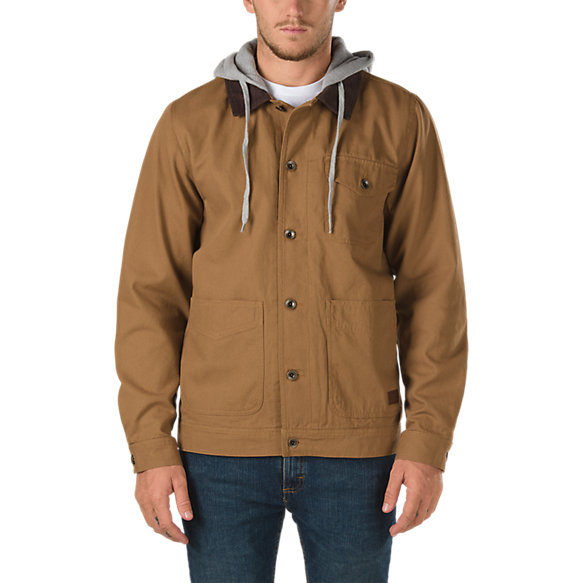 prentice men Vans prentice jacket is a canvas shirt jacket featuring a corduroy collar, a fleece drawstring hood, a button-front placket, and pockets at the chest and hips 100% cotton.