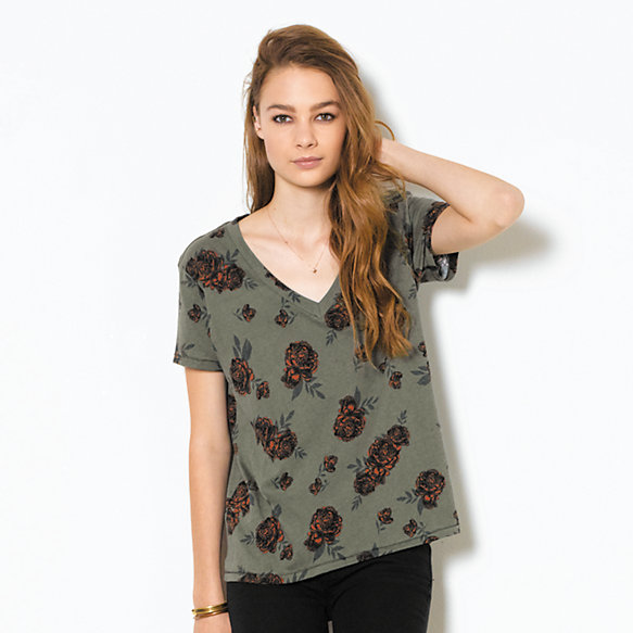 Road Roses Slouchy V-Neck Tee