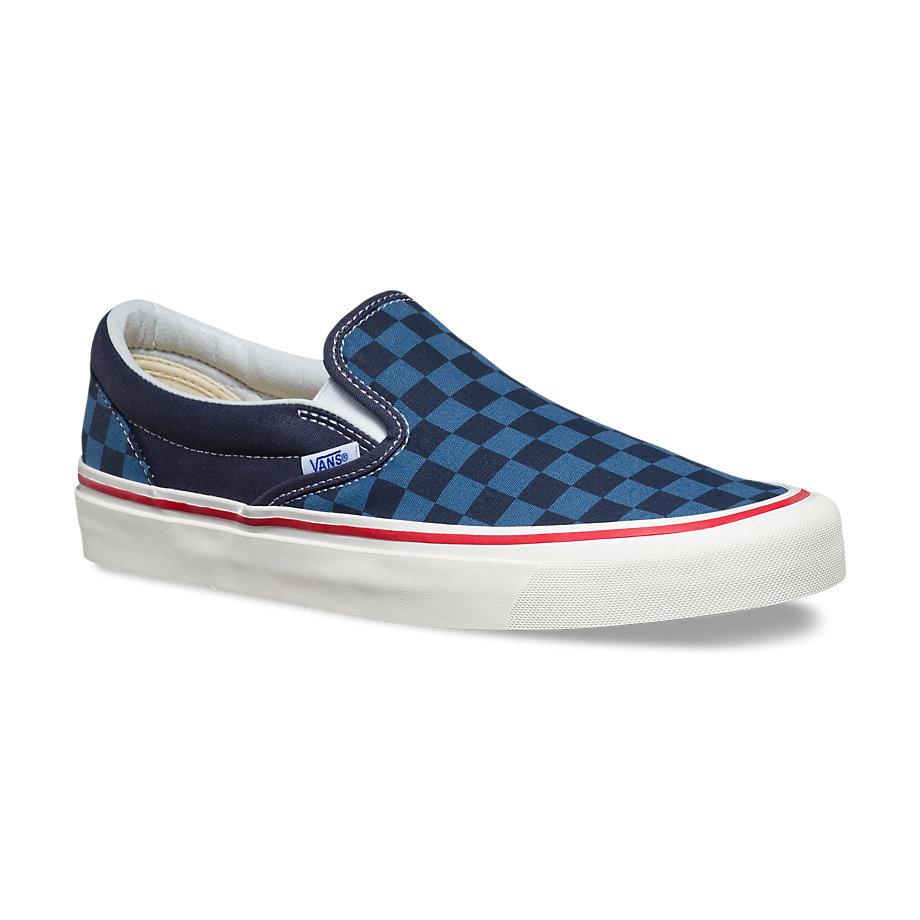 63cf98dd7d54ac Vans 50th Slip-on 98 Reissue (stv checkers navy blue)