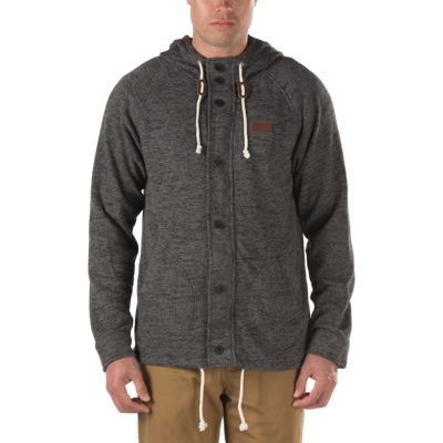 Vans Fleet Zip Hoodie (Black Heather/Black) Mens Sweatshirts