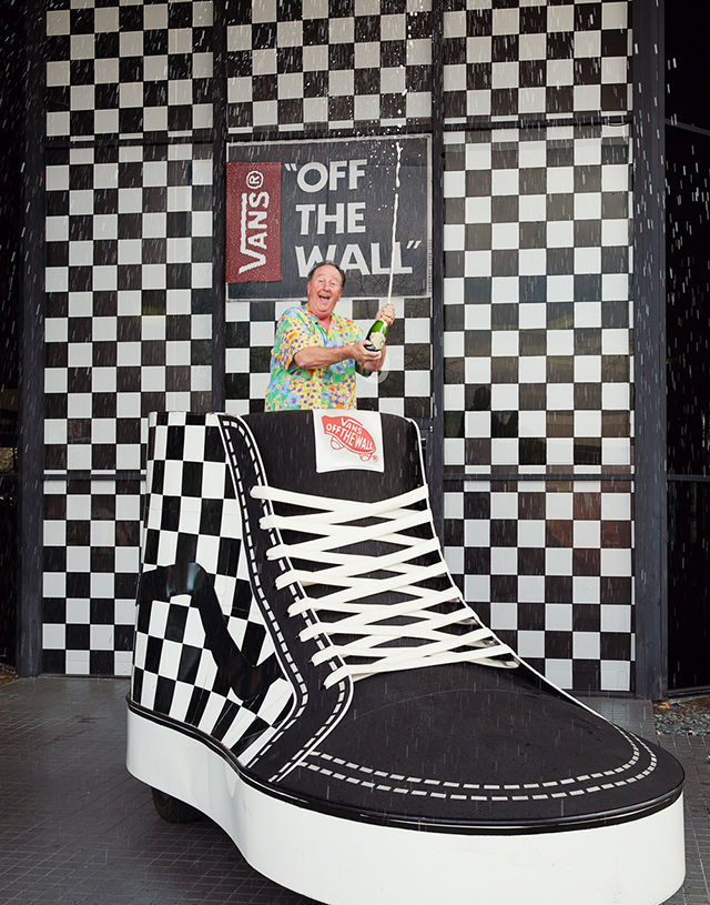 ... celebrity status on the Hollywood Walk of Fame in a pair of black and  white Checkerboard Slip-Ons forever stamping the notorious cement with the  Vans ... 3efad04bab