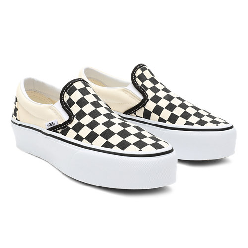 Checkerboard+Classic+Slip-On+Platform+Shoes