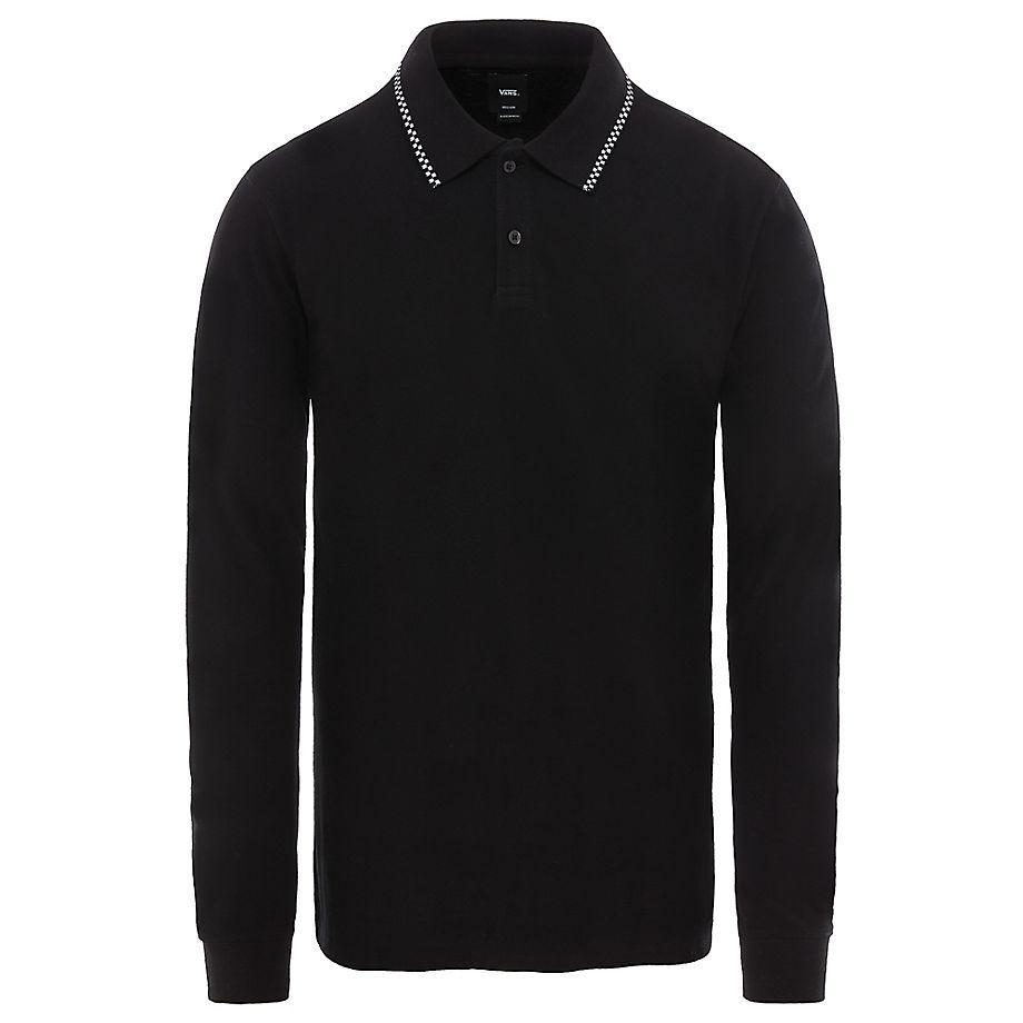 eb13e6a673 Vans Check Tip Long Sleeve Polo Shirt (black) Men Black
