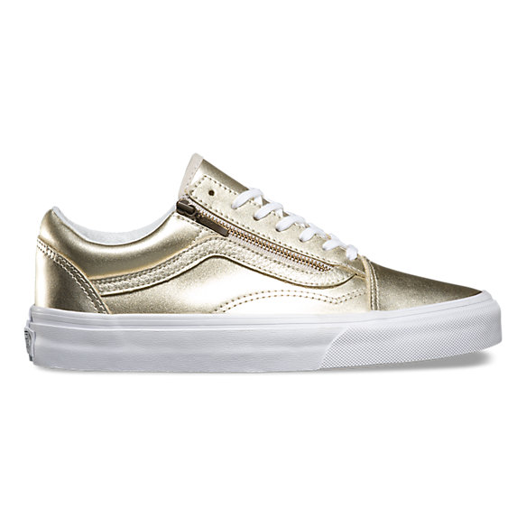 Metallic Leather Old Skool Zip