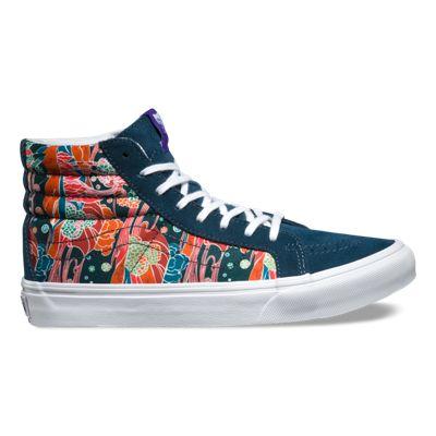 Womens Athletic Shoes vans sk8 hi slim sea true white liberty floral yd5s85h2
