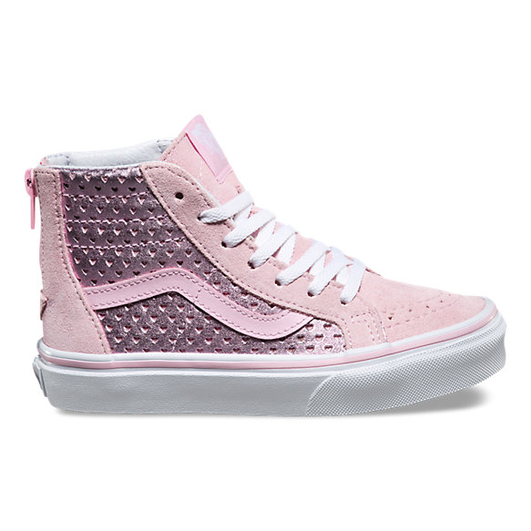 Kids Metallic Heart Perf SK8-Hi Zip