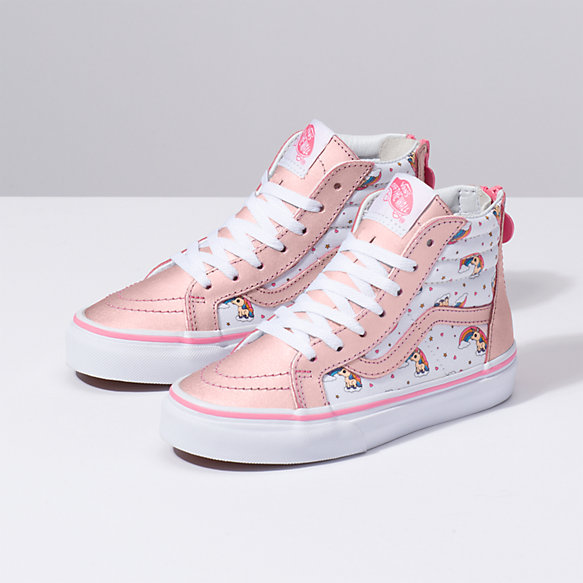 Kids Unicorn Rainbow Sk8 Hi Zip