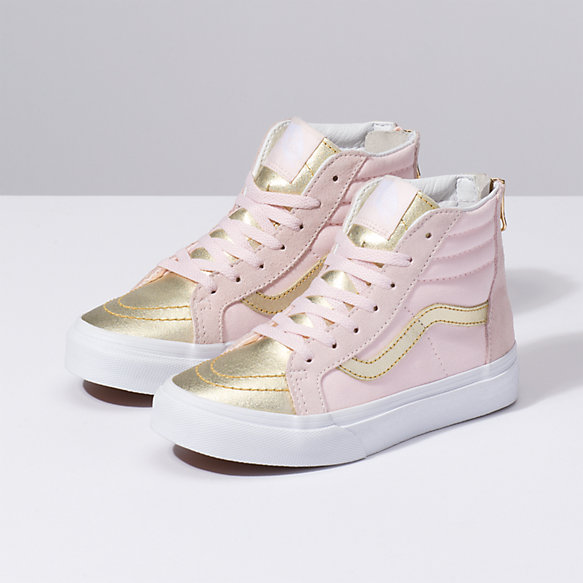 Kids Metallic Toe Sk8 Hi Zip
