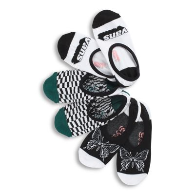 The Flutterfly Canoodle Socks 3 Pack features three pairs of low cut, no-show novelty canoodle socks. They are made with 72% cotton, 26% nylon, and 2% elastane.