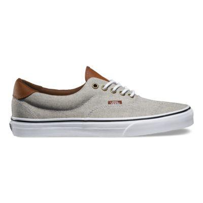 UK Official authorized Vans Oxford Leather Era 59 Mens Shoes KhakiTrue White