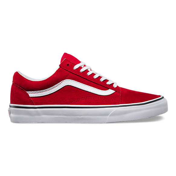 old skool vans white and red