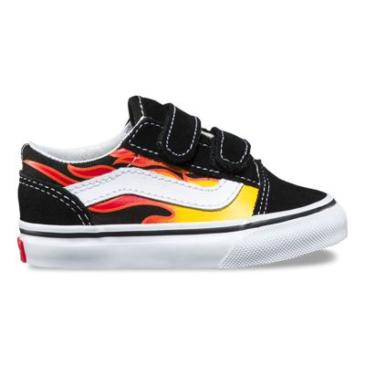 Vans Toddler Flame Old Skool V (Black/Black/True White)