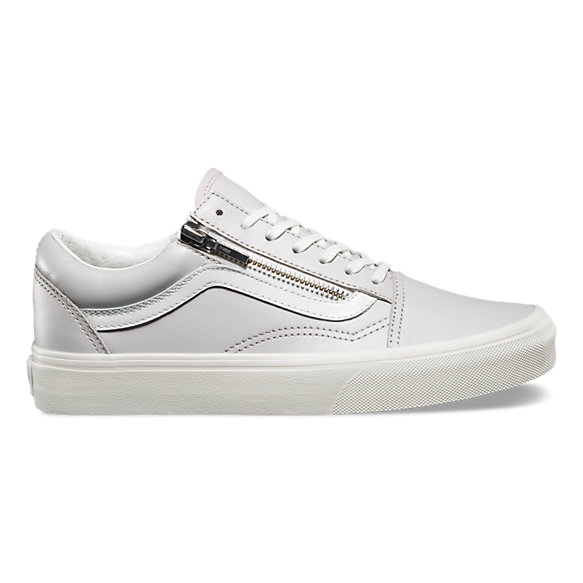 Best Vans for Men Old Skool Zip Leather True White Leather