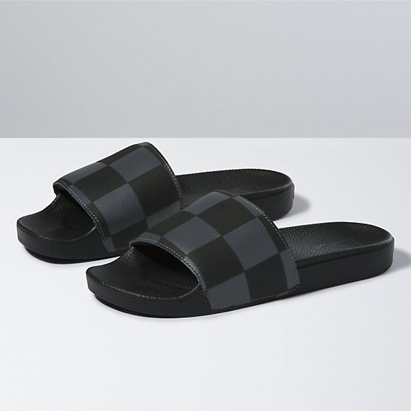 Leather/Check Slide-On