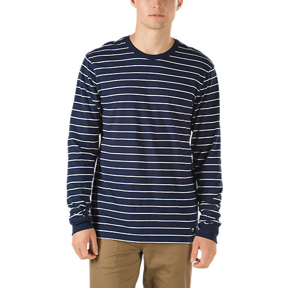 Milton stripe long sleeve t shirt shop mens tees at vans for Shop mens t shirts