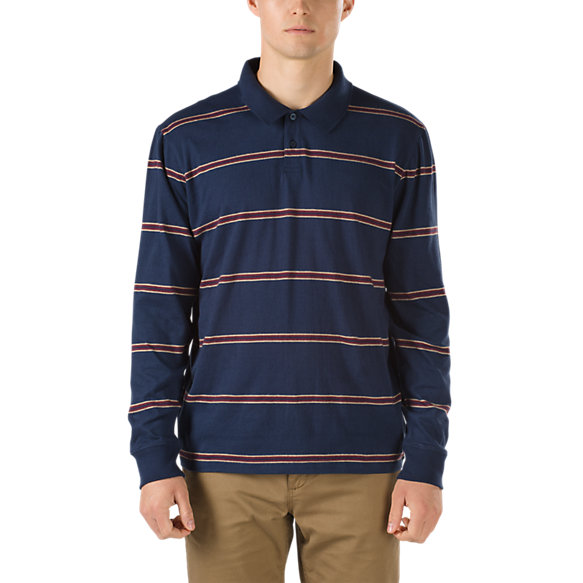 Arden long sleeve polo shirt shop mens tees at vans for Mens long sleeve collared polo shirts