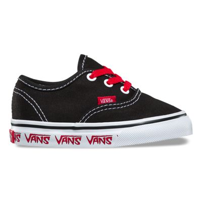 vans authentic black denim & red shoe nz
