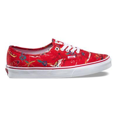 Vans Authentic Hoffman Red/Happy Hawai Men's Classic Skate Shoes Size 12
