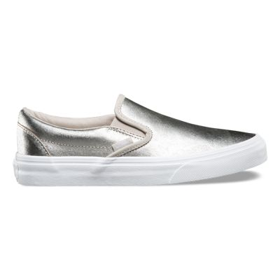 Original Product -  Vans Foil Metallic Slip-On Womens Shoes Silver/True White