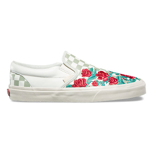 Rose embroidery slip on dx shop at vans