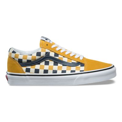 old skool checkerboard vans with yellow