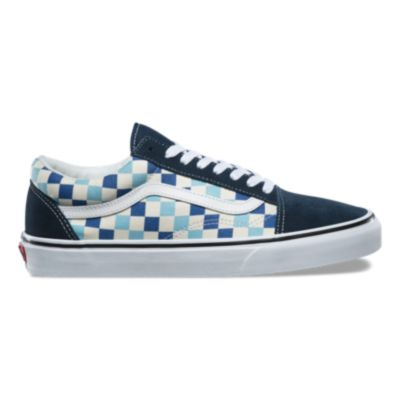 checkered vans blue