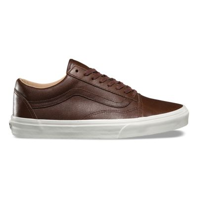 VANS OLD SKOOL Lux Leather Chocolate Porcini Trainers FOR