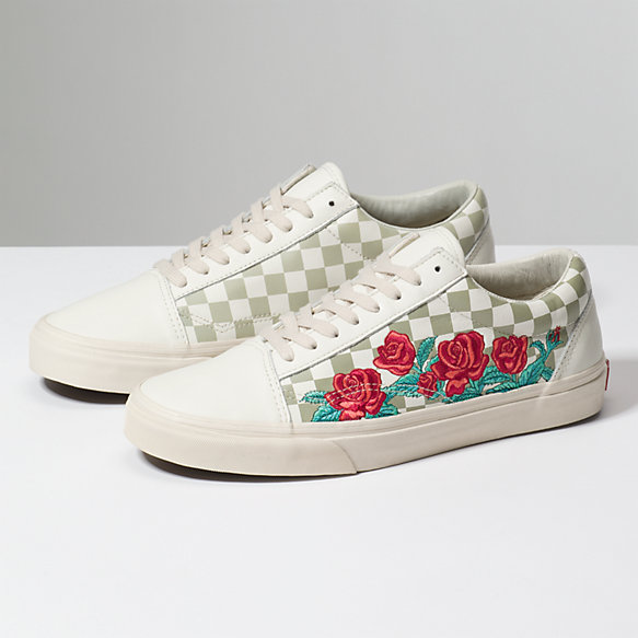 black checkered vans with roses