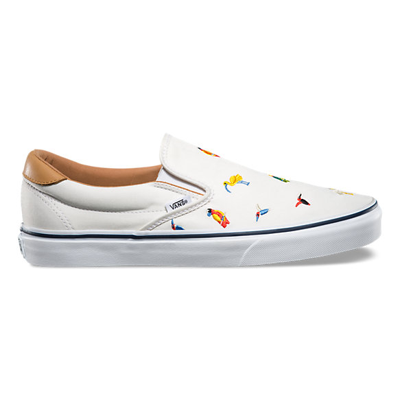 Checkered Slip On Vans Rose Embroidery Shoes -- Sale Code Inside