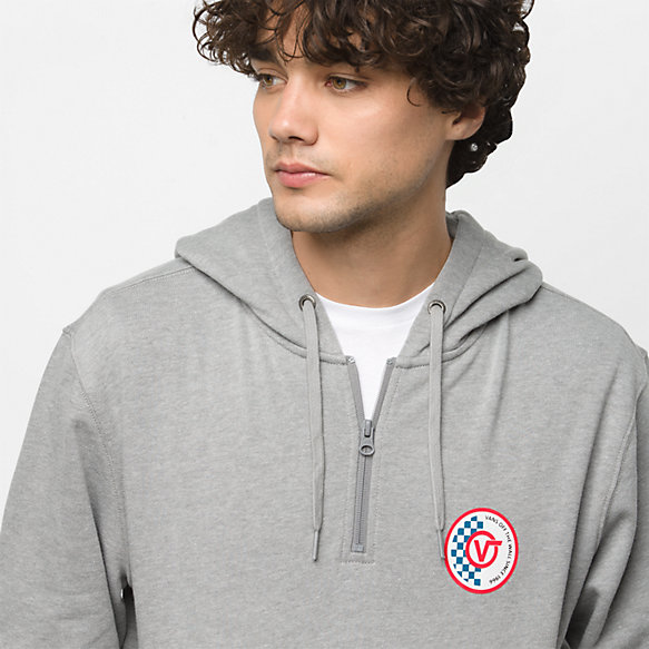 Checker Circle V Quarter Zip Pullover Hoodie