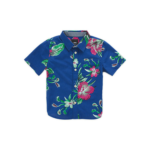 Little Kids Trap Floral Buttondown Shirt