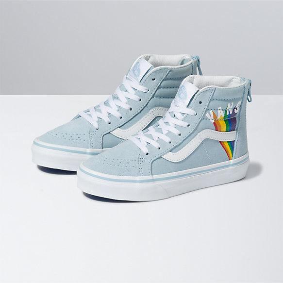 Kids Rainbow Vans Sk8-Hi Zip