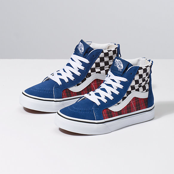 Kids Plaid Checkerboard Sk8-Hi Zip