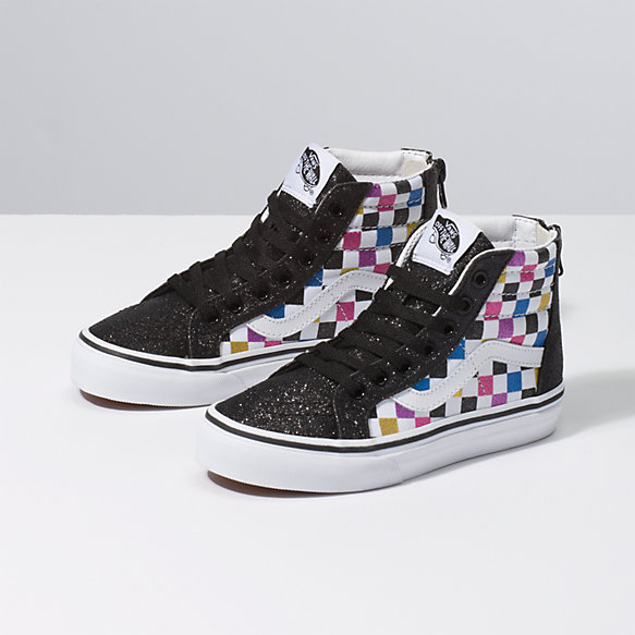 Kids Glitter Checkerboard Sk8-Hi Zip