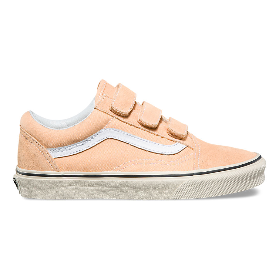 Baby pink sneakers with velcro straps